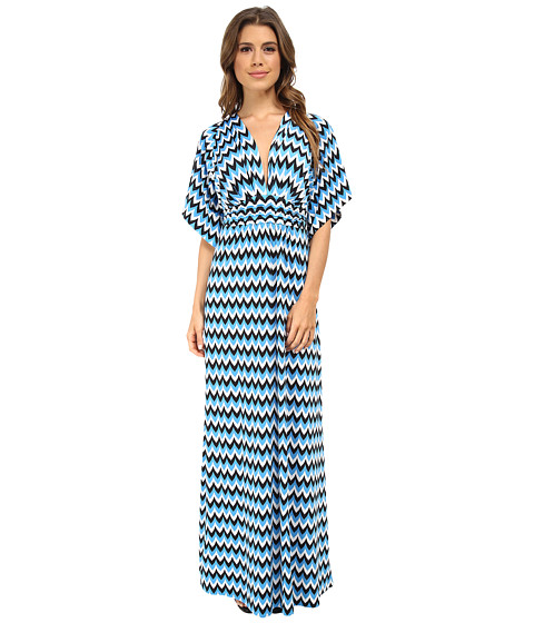 Tbags Los Angeles - Dolman Sleeve Rouched Waist Maxi (Blue/White/Black) Women's Dress