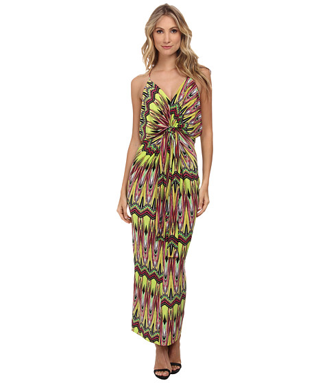 Tbags Los Angeles - Spaghetti Strap Deep-V Maxi Dress with Front Tie (Lime/Yellow/Pink) Women