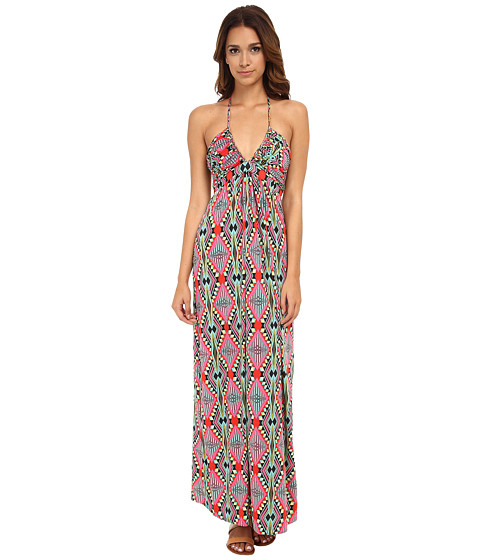Tbags Los Angeles - Deep-Ve Ruched Halter Maxi w/ Braided Ties (Pink/Red/Green) Women