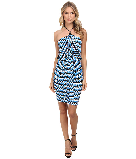 Tbags Los Angeles - Halter Front Knot Dress (Blue/White/Black) Women