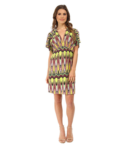 Tbags Los Angeles - V-Neck Empire Dress (Lime/Yellow/Pink) Women's Dress