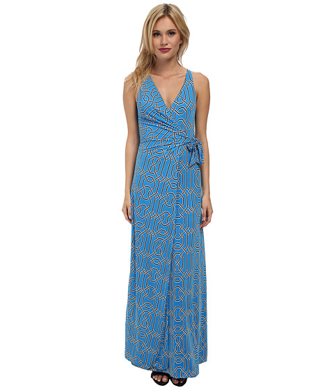 Tbags Los Angeles - Halter Wrap Maxi Dress (Blue/White/Navy) Women