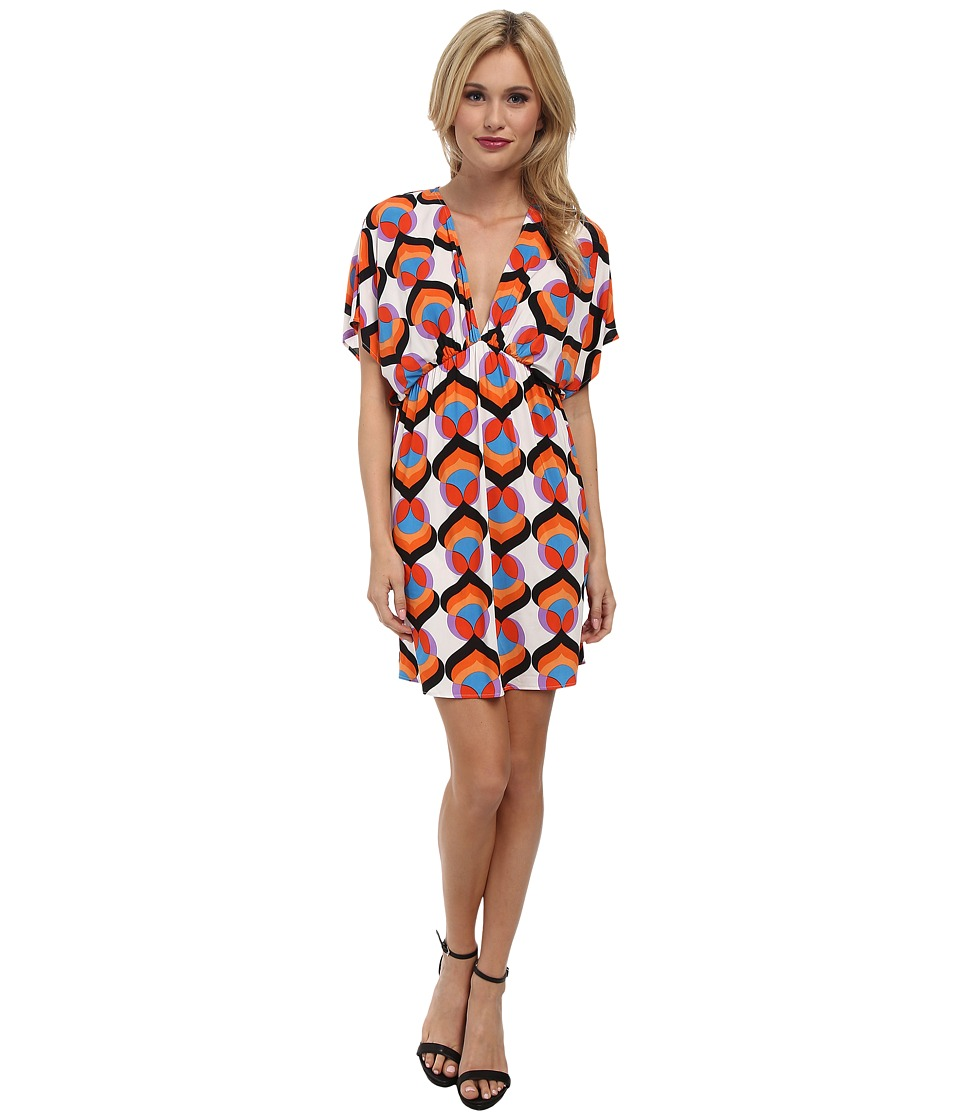 Tbags Los Angeles - V-Neck Empire Dress (Orange/Purple/White) Women