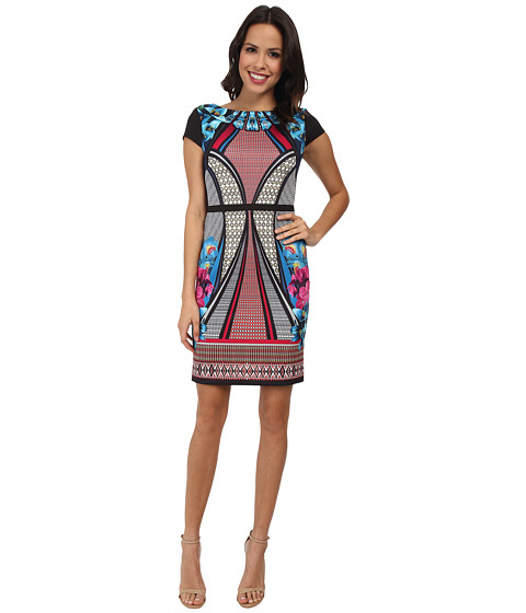 Laundry by Shelli Segal - Print Scuba Dress with Sold Blocking (Power Pink Multi) Women's Dress