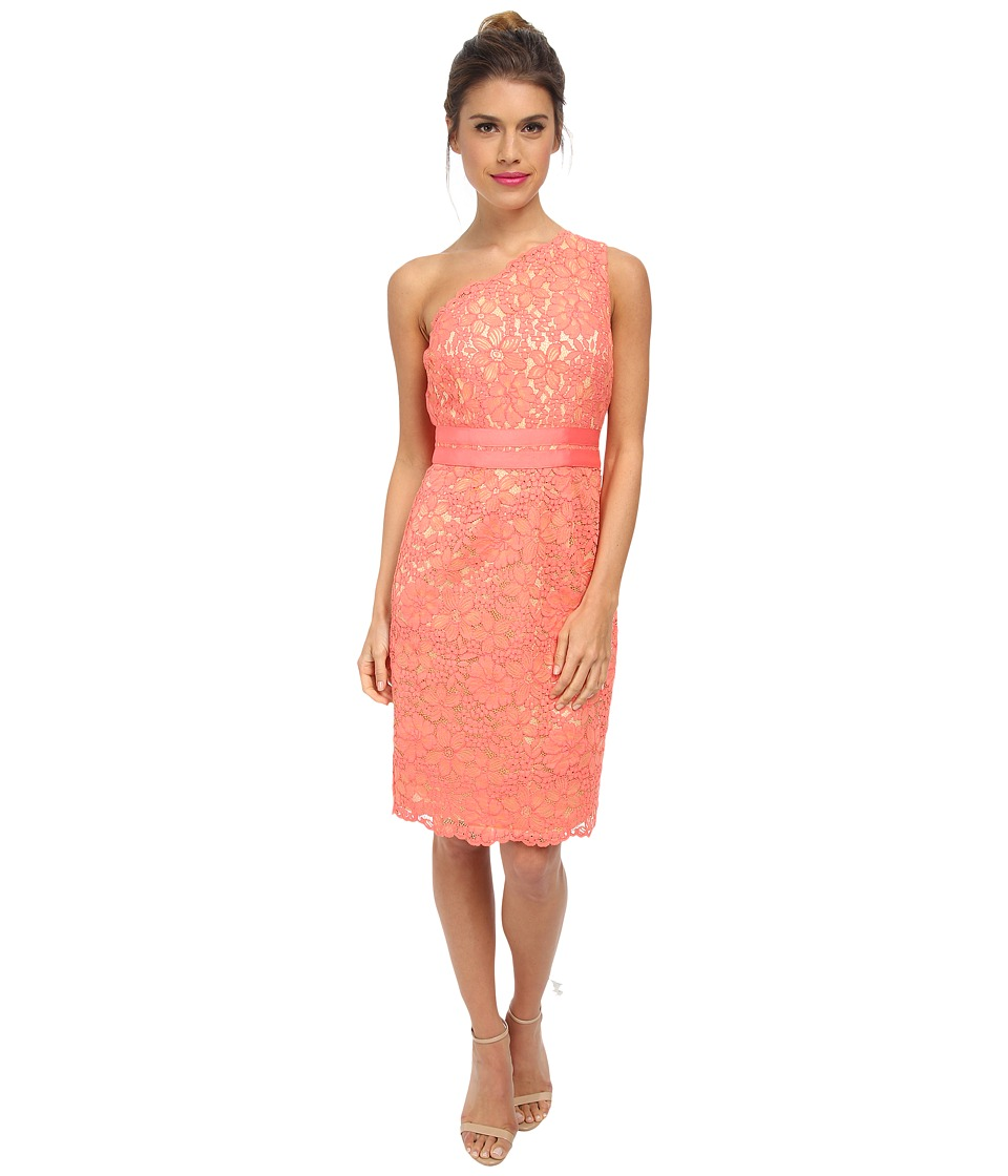 Laundry by Shelli Segal - One Should Lace Dress with Grograin At Waist (Vintage Coral) Women's Dress