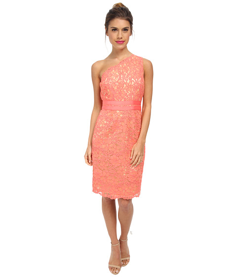 Laundry by Shelli Segal - One Should Lace Dress with Grograin At Waist (Vintage Coral) Women