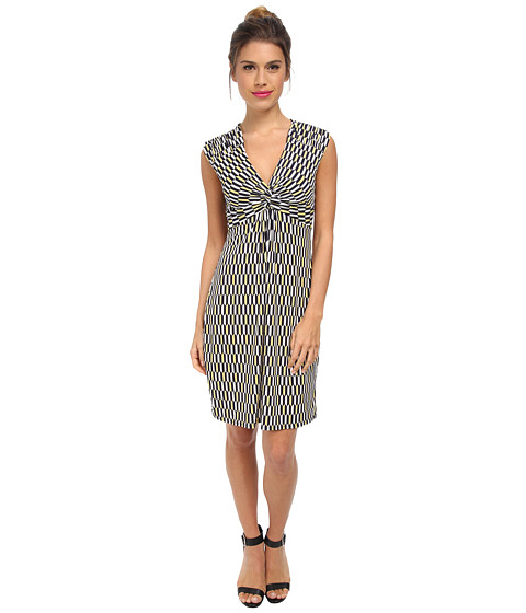 Laundry by Shelli Segal - Short Sleeve Printed Dress with Front Twist (Snapdragon Multi) Women's Dress