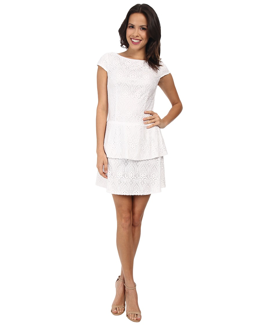 Laundry by Shelli Segal - Tiered Skirt Cap Sleeve Lace Dress (Optic White) Women's Dress