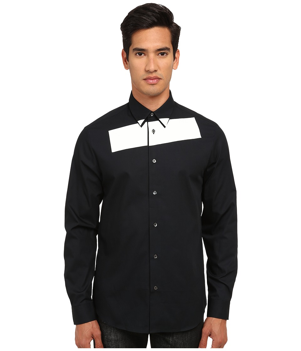 McQ - Stipe Long Sleeve Tux Button Up (Darkest Black) Men's Long Sleeve Button Up