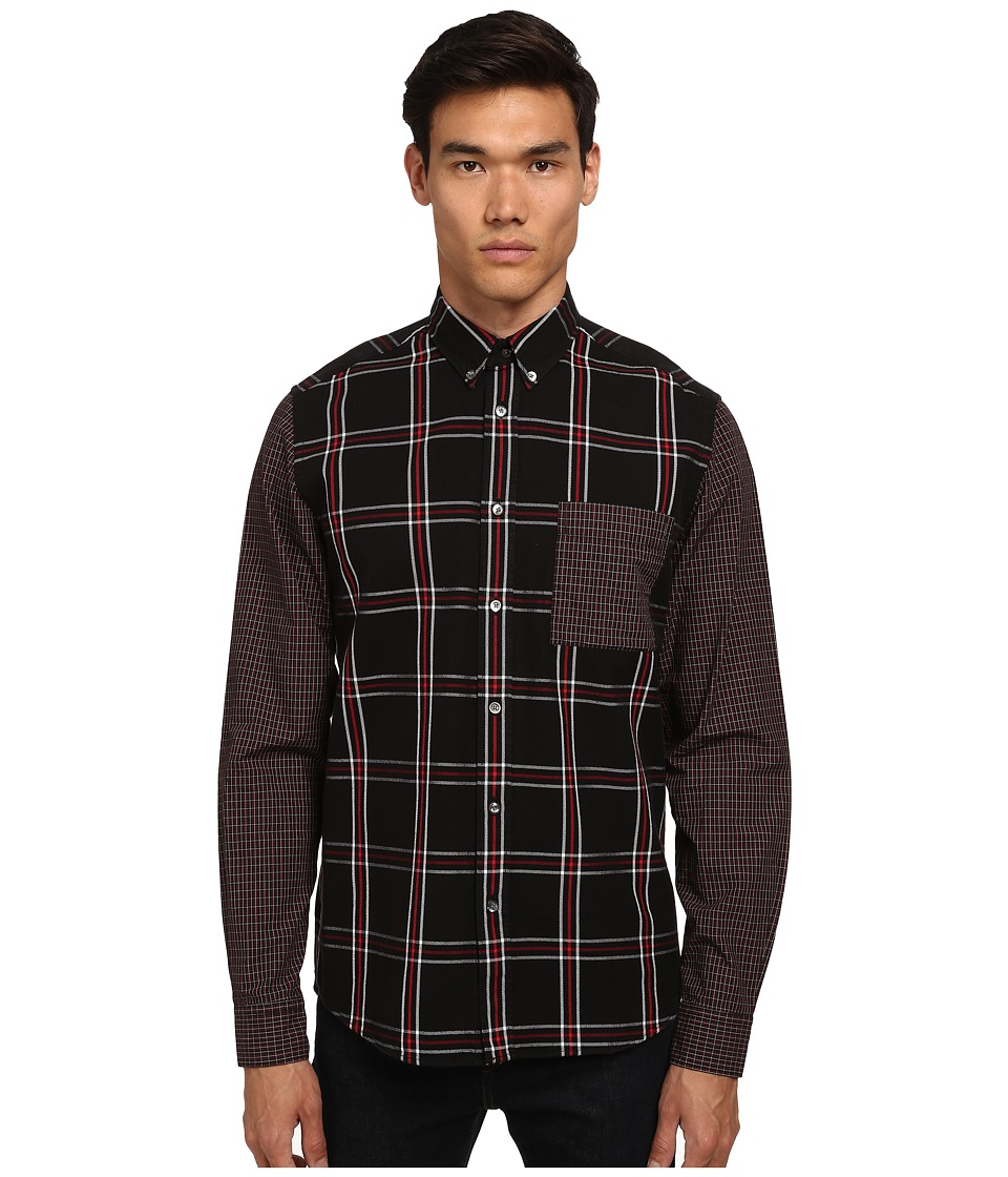 McQ - Stipe Pocket Long Sleeve Button Up (Darkest Black) Men's Long Sleeve Button Up