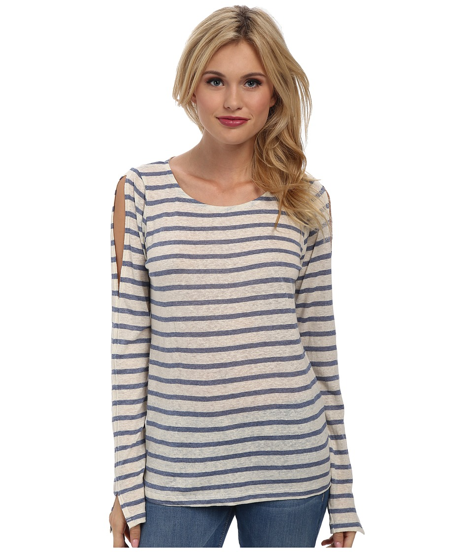 LAmade - Cruz Stripe Top with Arm Vents (Blue/Cream) Women's Clothing
