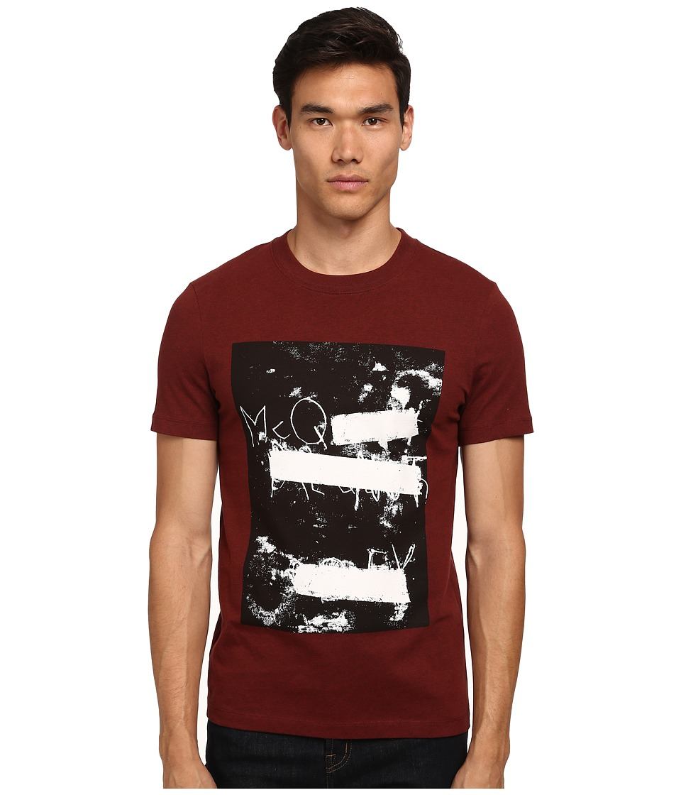 McQ - Short Sleeve Logo Print Crew Neck T-Shirt (Grey Melange/Blood) Men