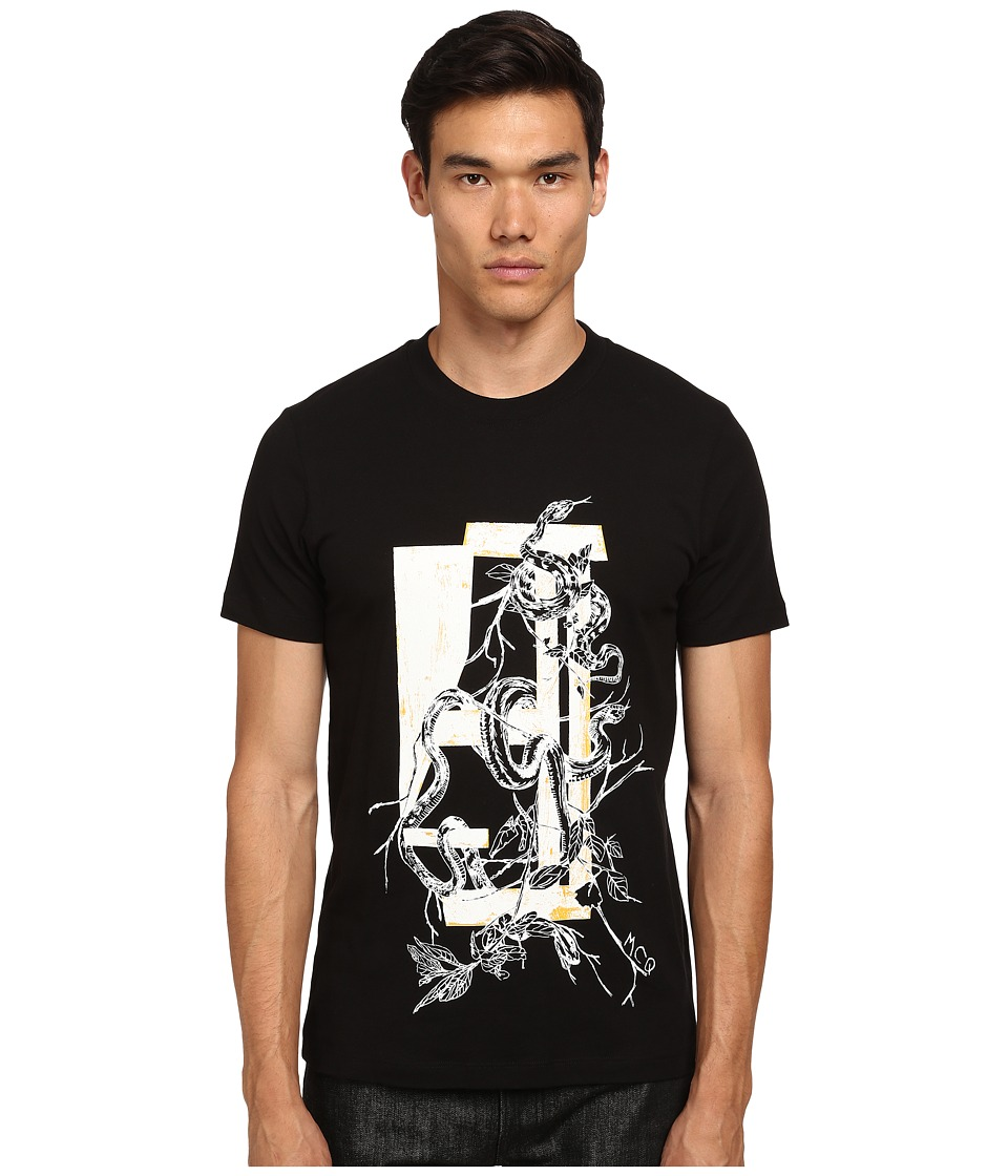 McQ - Short Sleeve Screen Printed Crew Neck T-Shirt (Darkest Black) Men's T Shirt