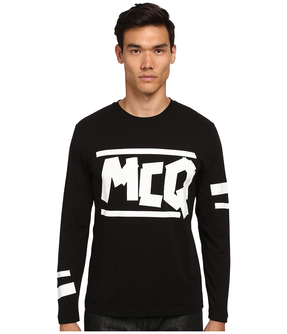 McQ - Long Sleeve Logo Crew Neck T-Shirt (Darkest Black) Men