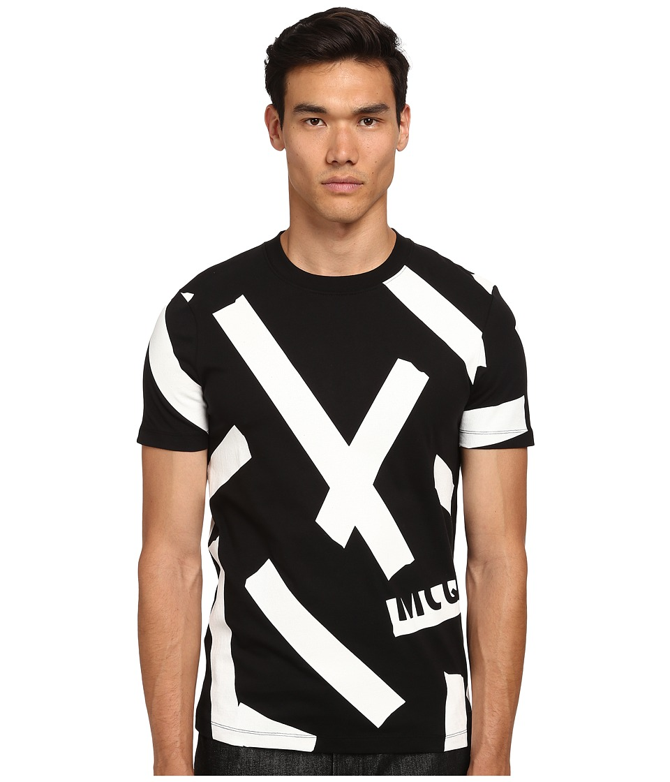 McQ - Short Sleeve Patterned Crew Neck T-Shirt (Darkest Black) Men's T Shirt