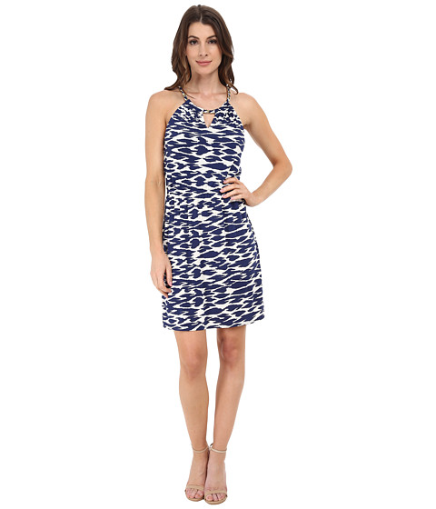 Laundry by Shelli Segal - Chain Neck Key Hole Print Matte Jersey (Blueberry Multi) Women