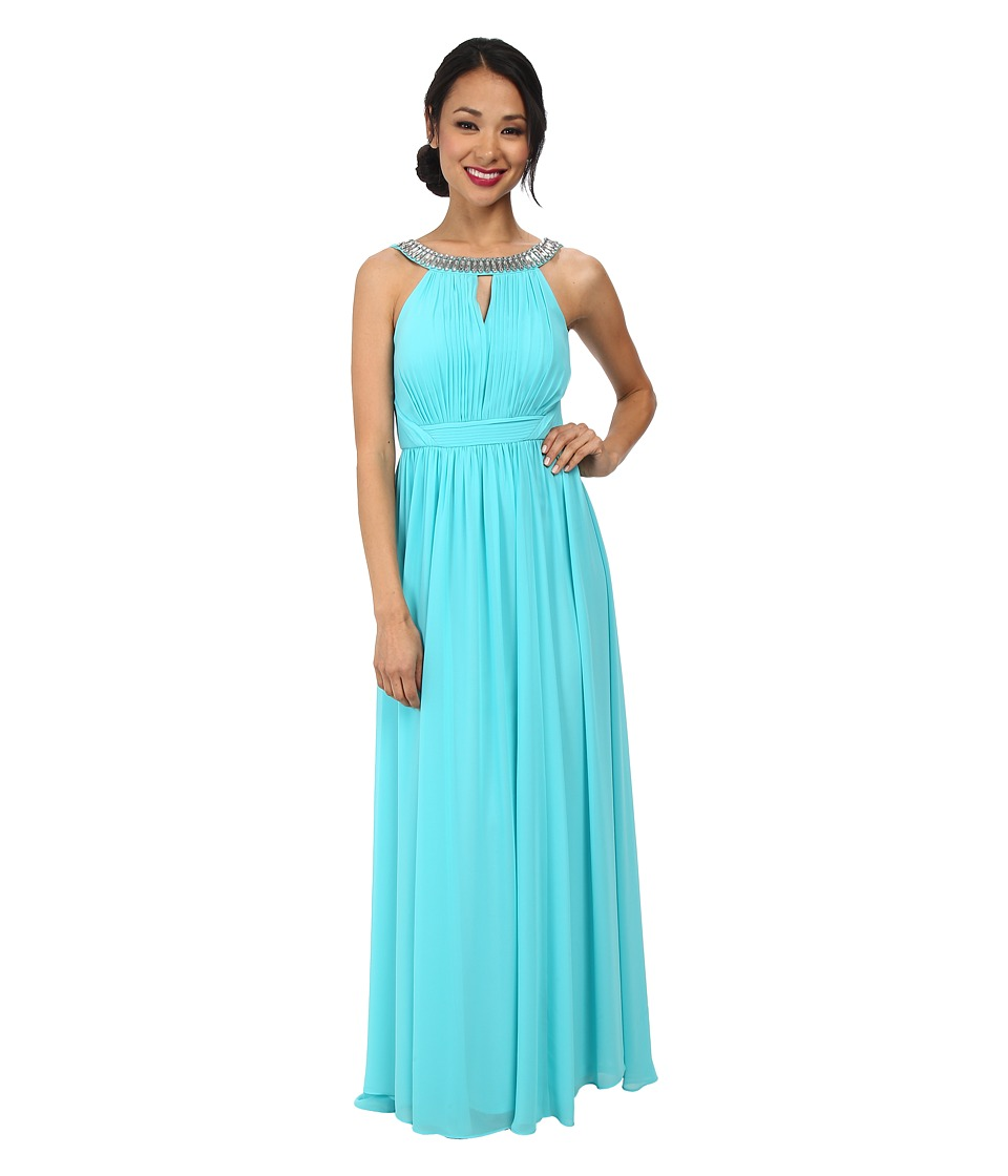 Laundry by Shelli Segal - Open Back Gown (Turquoise Breeze) Women's Dress