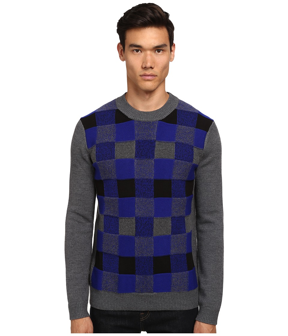 McQ - Check Crew Neck Sweater (Dark Grey Check) Men's Sweater