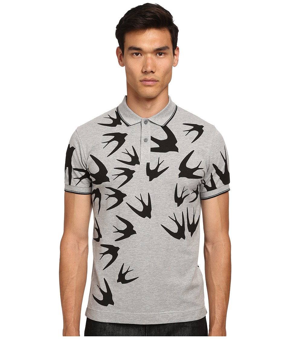 McQ - Swallows McQ Polo (Grey Melange) Men's Short Sleeve Pullover