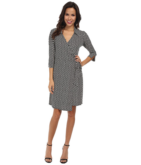 Laundry by Shelli Segal - Celtic Braid Wrap Dress (Black Multi) Women