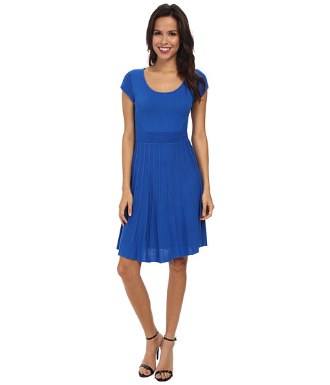 Laundry by Shelli Segal - Ridge Line Fit and Flare Sweater Dress (Princess Blue) Women's Dress