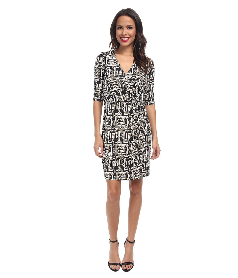Laundry by Shelli Segal - Block Party Faux Wrap Dress (Black Multi) Women's Dress