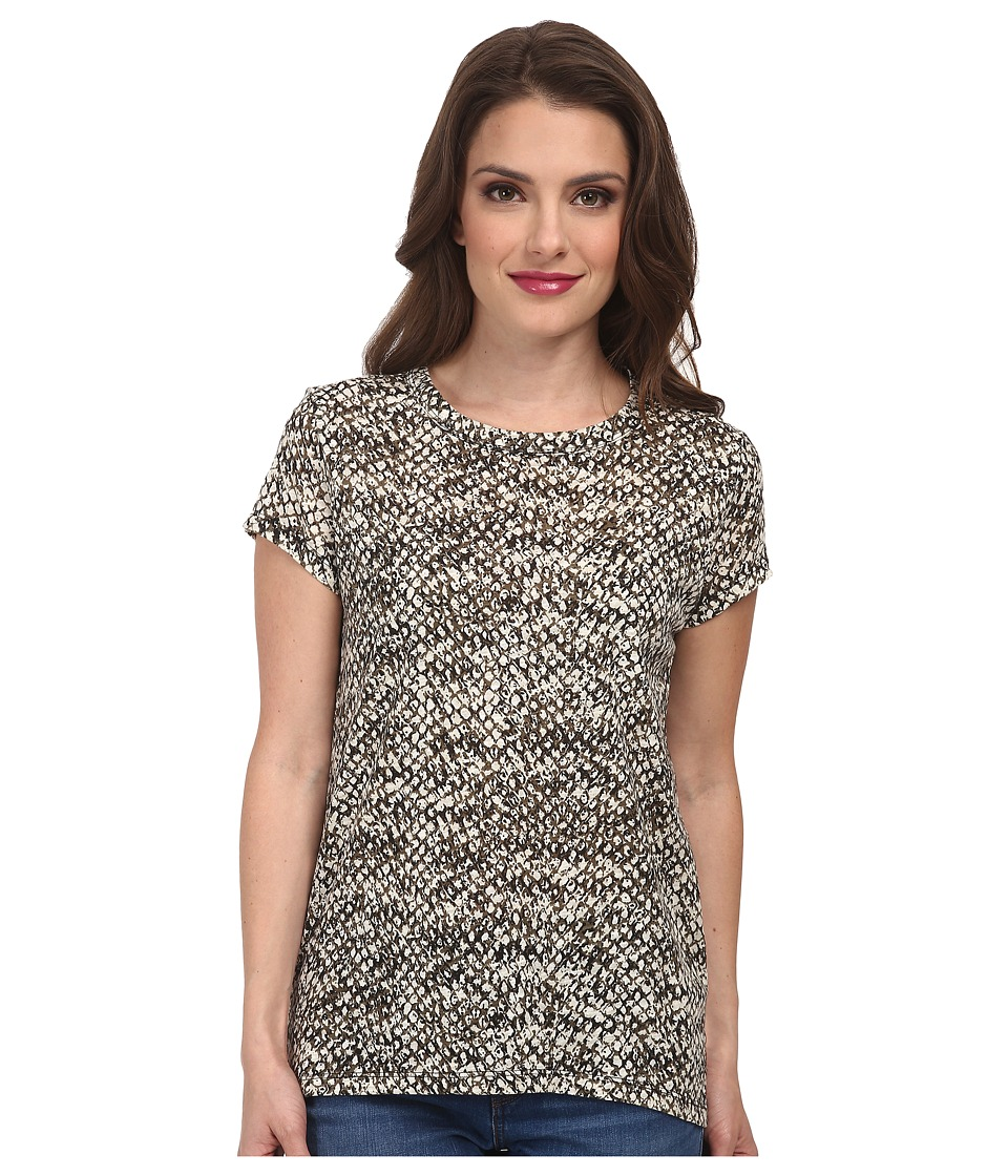 MICHAEL Michael Kors - Petite Snfora Print Cap Sleeve Top (Ecru) Women's Short Sleeve Pullover