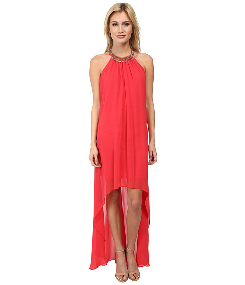 Laundry by Shelli Segal - Hi Multi Chiffon Sleeveless Hi-Low Dress (Coral Rage) Women