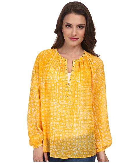 MICHAEL Michael Kors - Petite Mandera Raglan Long Sleeve Top (Ecru/Taxi Yellow) Women's Clothing