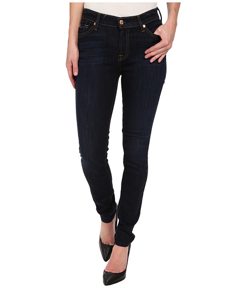 7 For All Mankind - Mid Rise Skinny w/ Squiggle (Contrast) in Classic Dark (Classic Dark) Women's Jeans