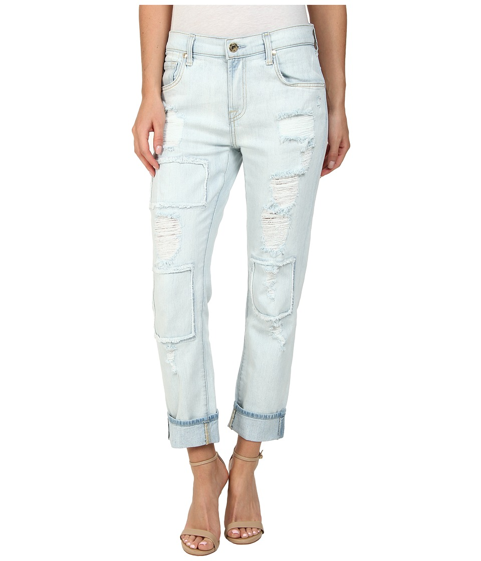 7 For All Mankind - Relaxed Skinny in Patched/Destroyed Rigid Light Blue (Patched/Destroyed Rigid Light Blue) Women