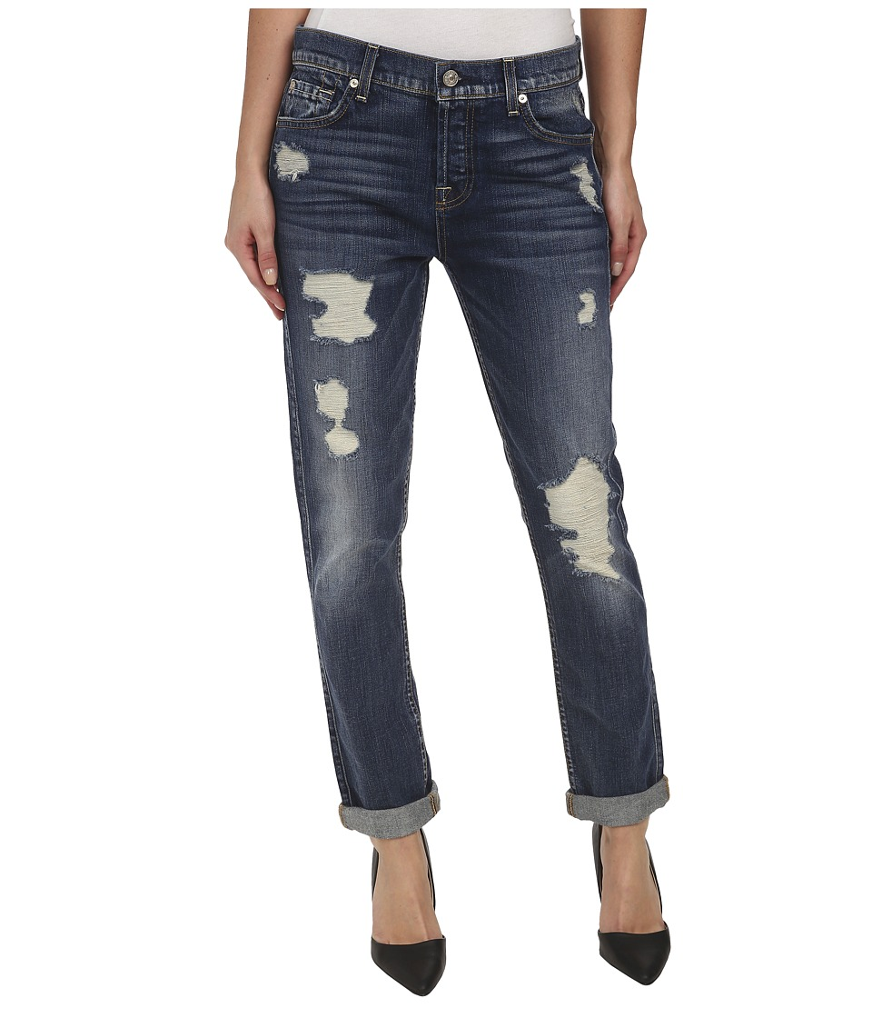 7 For All Mankind - Josefina w/ Destroy in Grinded Vintage Indigo 2 (Grinded Vintage Indigo 2) Women