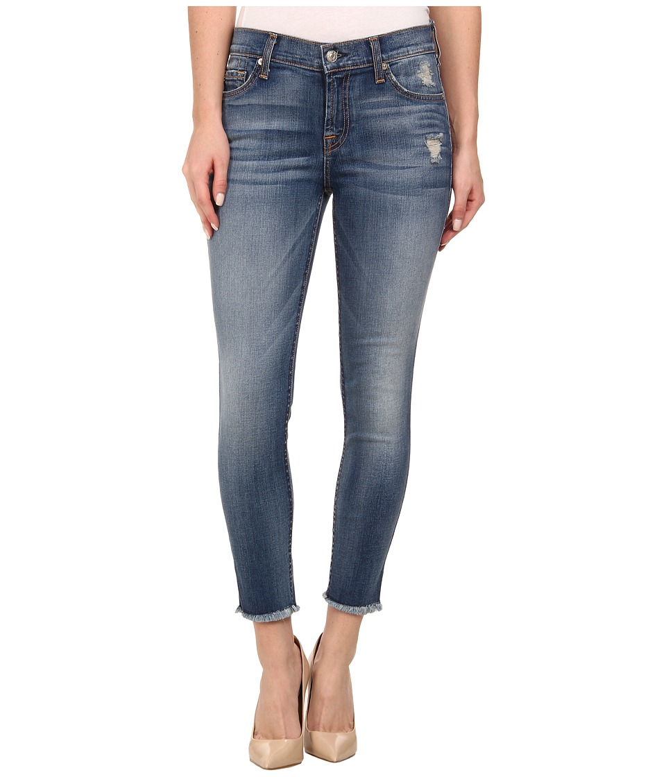 7 For All Mankind - Mid Rise Ankle Skinny w/ Raw Hem in Distressed Authentic Light (Distressed Authentic Light) Women's Jeans