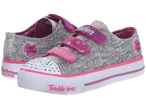 SKECHERS KIDS - Shuffles 10512L Lights (Little Kid/Big Kid) (Grey/Multi) Girls Shoes