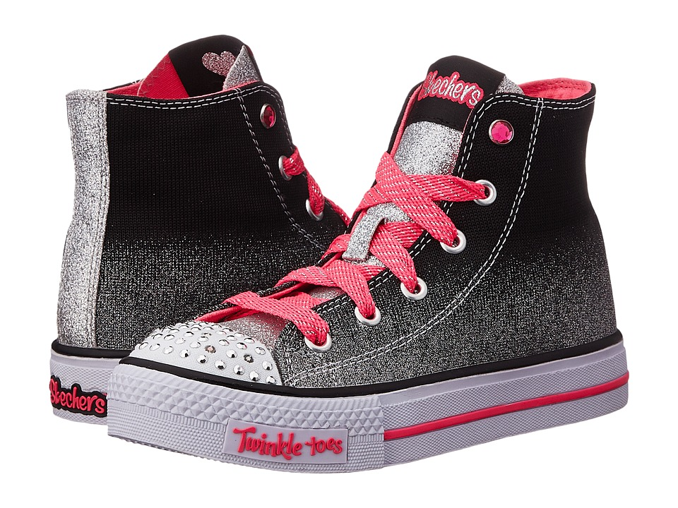 SKECHERS KIDS - Shuffles 10503L Lights (Little Kid/Big Kid) (Black/Silver/Pink) Girls Shoes