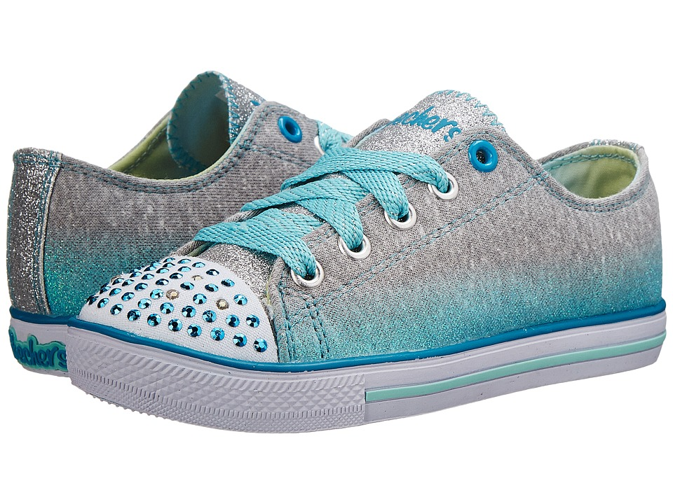 SKECHERS KIDS - Chit Chat 10506L Lights (Little Kid/Big Kid) (Grey/Turquoise) Girls Shoes
