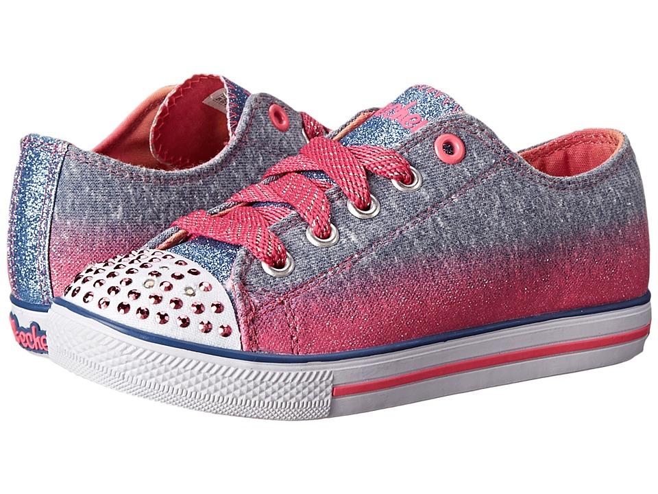 SKECHERS KIDS - Chit Chat 10506L Lights (Little Kid/Big Kid) (Blue/Neon Pink) Girls Shoes