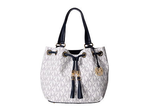 MICHAEL Michael Kors - Jet Set Large Gathered Tote (Navy/White) Tote Handbags