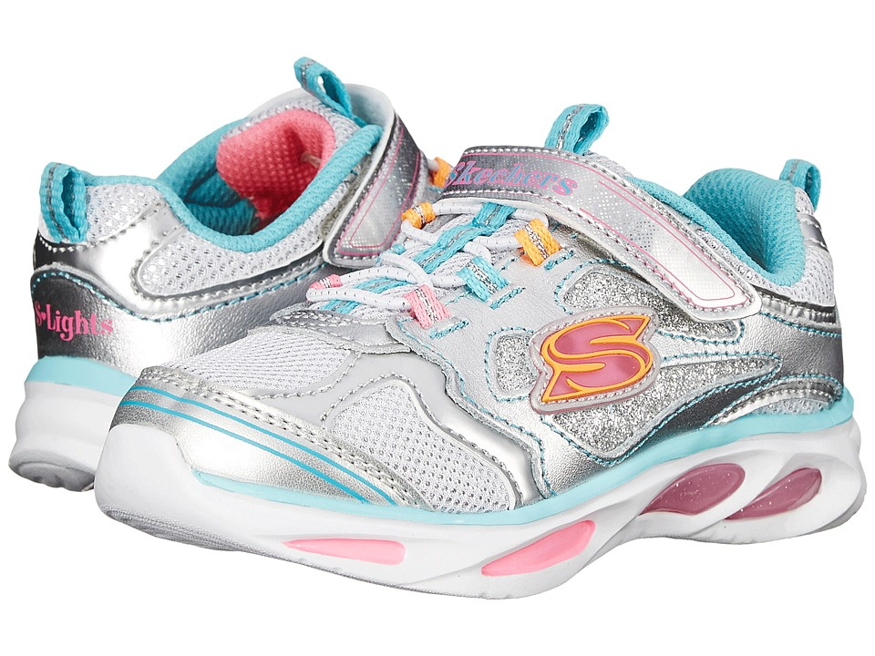 SKECHERS KIDS - Blissful 10477N Lights (Toddler) (Silver/Multi) Girls Shoes
