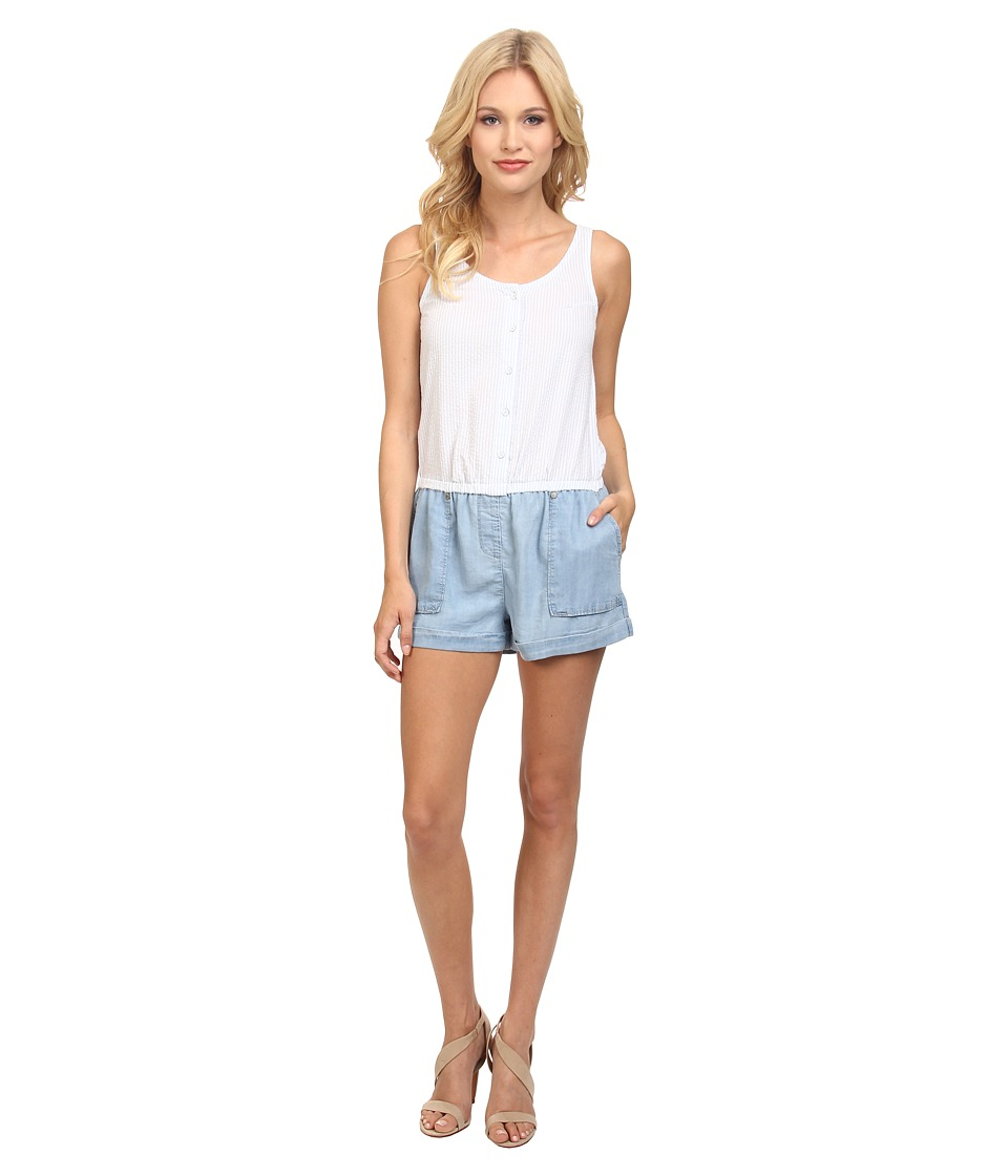 C&C California - Seersucker Chambray Mixed Romper (Chambray Multi) Women's Jumpsuit & Rompers One Piece