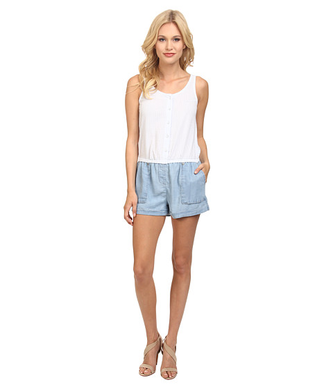 C&C California - Seersucker Chambray Mixed Romper (Chambray Multi) Women
