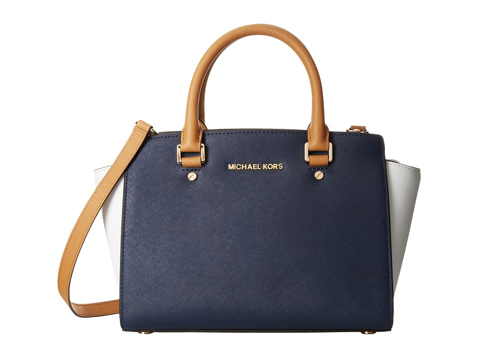 MICHAEL Michael Kors - Selma Medium Top-Zip Satchel (Navy/White/Pnut) Satchel Handbags
