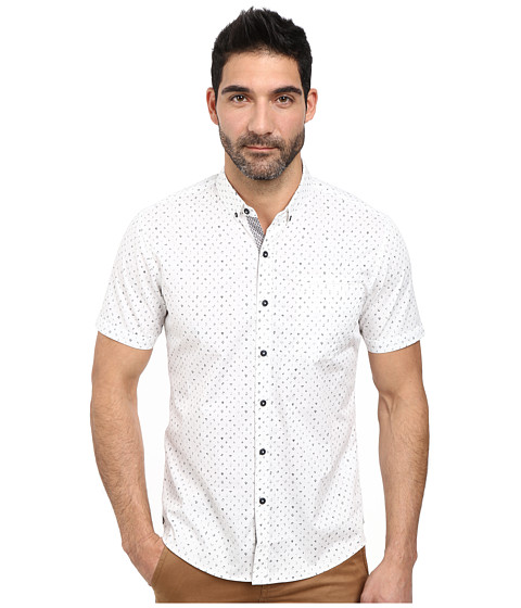 7 Diamonds - Answers in The Sun Short Sleeve Shirt (White) Men's Short Sleeve Button Up