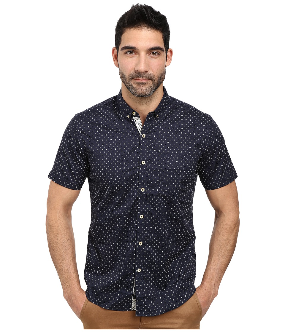 7 Diamonds - Answers in The Sun Short Sleeve Shirt (Navy) Men's Short Sleeve Button Up