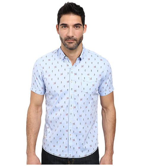 7 Diamonds - Sea King Short Sleeve Shirt (Light Blue) Men's Short Sleeve Button Up