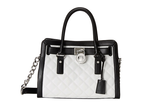 MICHAEL Michael Kors - Hamilton Quilted East/West Satchel (Opticwht/Black) Satchel Handbags