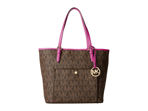 MICHAEL Michael Kors - Jet Set Item Large Snap Pocket Tote (Brown/Fuchsia) Tote Handbags