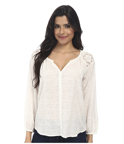 Velvet by Graham & Spencer - Lorica Long Sleeve Voile Top (Cream) Women's Blouse