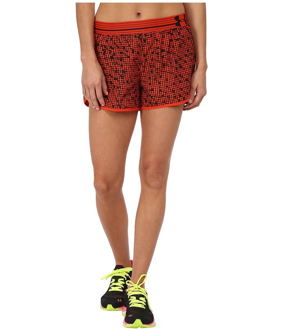 Under Armour - UA Printed Perfect Pace Short (Dark Orange/Dark Orange/Reflective) Women's Shorts
