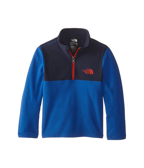The North Face Kids - Glacier 1/4 Zip (Little Kids/Big Kids) (Monster Blue/Fiery Red) Boy's Long Sleeve Pullover
